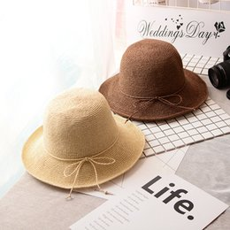 Chinese  Straw Hats Cap Soft Lafite visor caps hat sunscreen wild hand-woven foldable thin travel visor hats manufacturers