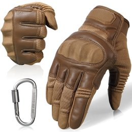 Brown Leather Gloves For Men Australia - Touchscreen Leather Motorcycle Skidproof Hard Knuckle Full Finger Gloves Protective Gear for Outdoor Sports Racing Motocross ATV