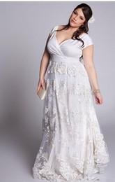 $enCountryForm.capitalKeyWord Australia - New Arrival Plus Size A Line Lace Wedding Dresses V Neck Bridal robe de soiree Lady Formal Party Dresses Wedding Gown Lace Skirt