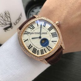 China Cheap New Drive De WGNM0008 White Dial Moon Phase Automatic Mens Watch Rose Gold Case Diamond Bezel Leather Strap Gents Watches Hello_watch supplier cheap diamond bezel watches suppliers