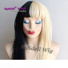 layered hair cut Canada - New Arrival Beauty Half black half blonde color hair wig synthetic heat resistant fiber hair layered cut long wigs with neat bangs