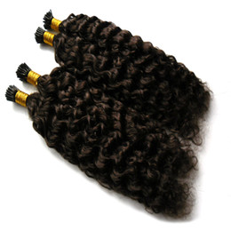 Discount wholesale bonding hair extensions - Kinky Curly Unprocessed Virgin Mongolian Hair 100S Pre Bonded Nail TIP Hair Extensions Italian keratin fusion Stick I TI