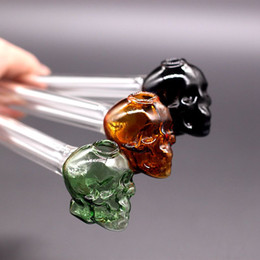 Skull Curved Pipe Australia - 5.5 inch Colorful Skull Pyrex Pipe Oil Burner Water Pipes Bubbler Smoking Pipes Curved Spoon Hand Blown Recycler Oil Nail Dab Pipe