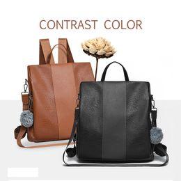 $enCountryForm.capitalKeyWord Australia - Fashion Female anti-theft backpack classic PU leather solid color backpack fashion shoulder bag Waterproof School Bag
