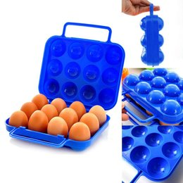 design storage boxes NZ - New Portable Carry 12 Eggs Container Kitchen Holder Storage Box Case Folding Plastic designed for carrying the eggs easily#25