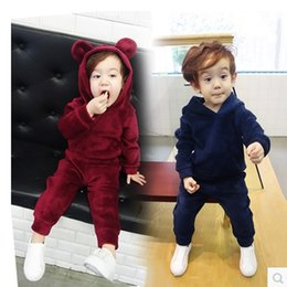 Wholesale Children Girls Clothing Sets New Autumn Winter Boys Gold Velvet Hoodies Pants Suit Baby Kids Clothes Set Years