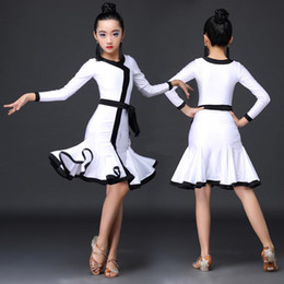 professional white dancing dresses UK - Latin Dance Dress Girl Professional Competition Dancing Dresses Children Kid Salsa Cha Samba Clothes Practice Show Wear DN5037