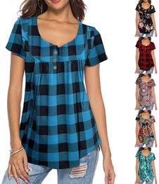 $enCountryForm.capitalKeyWord Australia - 2019 Summer Casual Women Plaid Button T-shirts Short Sleeve Floral Print Grid Tees Round Neck Pullover Leisure T shirt Tops S-2XL New A42901