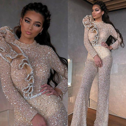 bling short prom dresses NZ - 2020 Bling Sheath Evening Dress Jumpsuits High Neck Sequins Beaded Ruffled Sash Prom Dress Long Sleeves Floor Length Formal Party Gown