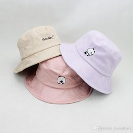 summer panda hat NZ - LDSLYJR 2018 Cotton panda embroidery Bucket Hat Fisherman Hat outdoor travel hat Sun Cap Hats for Women 444
