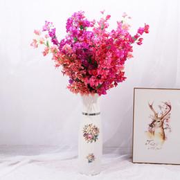 Plum flower decoration online shopping - Artificial Flower Triangle Plum Long Branch Home Wedding Decoration Simulation Flowers Cloth And Plastic Purple Red ys C1kk