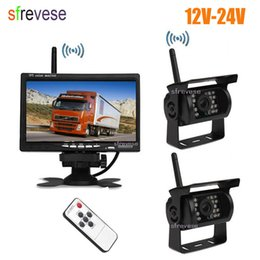 "reverse camera wireless Australia - 2x Wireless 18 IR LED Car Reversing Backup Parking Camera + 7"" LCD Monitor For Bus Truck Trailer Vehicle Rear View Kit"