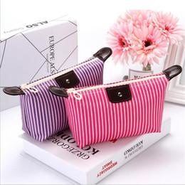 $enCountryForm.capitalKeyWord Australia - Waterproof Dumpling Solid Striped Fold Makeup Bag Soft Portable Korean Version Make Up Bags Makeup Wash Cosmetic Bag
