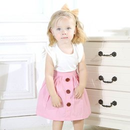 LittLe girLs two piece suits online shopping - Baby Dresses Two piece Suit Kids Girl A line Skirt Children Tutu Dresses Little Fly Sleeve Solid T shirt Round Collar