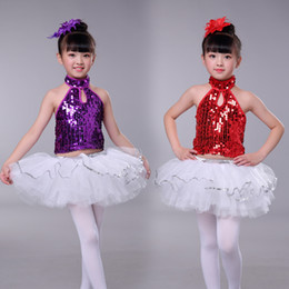 cf8c4b186 New Children Jazz Dance Costumes Sequins Ballroom Stage Performing Dresses  Kids Latin Ballet Dance Tutu For Girls