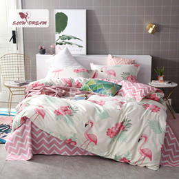 Discount king size double beds - Pink Flamingos Bedding Set 3D Double Bed Sheet Comforter Duvet Cover Bedspread Bedclothes Adult Queen King Size Linens47