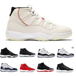 11 Gorro y bata de color platino Gimnasio Rojo Estingray negro OVO Midnight Navy Bred Shoes 11s Mens Womens Kids Basketball Sneaker Drop
