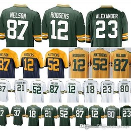 b09558ae9f9 12 Aaron Rodgers Green Men Bays Packer jerseys 37 Josh Jackson 17 Davante  Adams 18 Randall Cobb 23 Jaire Alexander 80 Jimmy Graham
