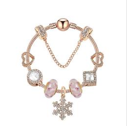 $enCountryForm.capitalKeyWord Australia - Murano Glass Charm Bead Bracelet Rose Gold Snowflake Pendant European Charm Beads Fits Charm Bracelets Snake Chain Style Bracelet Jewelry