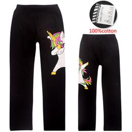 Wholesale Black Cotton Leggings Australia - Unicorn Kids Pants 100% Cotton 4-12t Girls Leggings Elastic Trousers 2 Colors Summer Cartoon Printed kids designer clothes SS90
