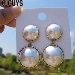 $enCountryForm.capitalKeyWord Australia - KUGUYS Fashion White Pearls Earrings for Womens Trendy Jewelry Round Long Drop Earring Gift Party Wedding Accessories