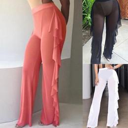 ladies transparent pants 2019 - Gauze Wide Leg Pants Sexy Trousers Lotus Leaf Edge Ladies Transparent Beach Plus Size Fashion Hot Sale 19yp I1 cheap lad