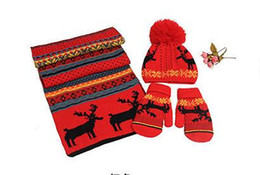 red designer scarves NZ - Christmas Scarf Gloves Hat Three-Piece Suit Winter Wool Knitted Warm Scarf Gloves Hat Womens Designer Scarf Christmas