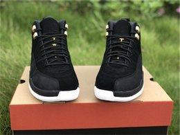 wide athletic shoes Australia - 2019 Air Authentic 12 Reverse Taxi Metallic Gold Black White Mens Basketball Shoes 130690-017 Real Carbon Fiber Athletic Sneakers Size 40-47