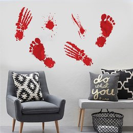 Resin adhesive stickeRs online shopping - Bloody Drip Handprint Halloween Wall Sticker Wall Decals Window Clings For Bathroom Haunted Home Office Decor CM
