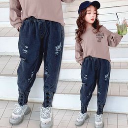 $enCountryForm.capitalKeyWord Australia - girls Jeans spring autumn Fashion children's trousers Washing hole and cut Whitening pants Cotton Foot buckle