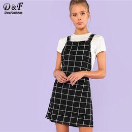 Pinafore Dresses NZ - Dotfashion Bib Pocket Front Grid Pinafore Dress 2019 Summer Sleeveless Preppy Dress Women Black Straps Short Straight Dress Y19050905
