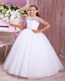 $enCountryForm.capitalKeyWord UK - Unique Beauty Flower Girls Dresses For Wedding Party 2019 One Shoulder Handmade Flower Tiered Skirt Girls Pageant Gown