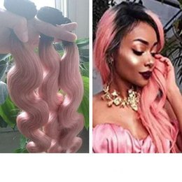 dark gold hair Canada - 1B Rose Gold Body Wave Peruvian Human Hair Weave Bundles Ombre Bundles Dark Root Pink Ombre Hair Extension