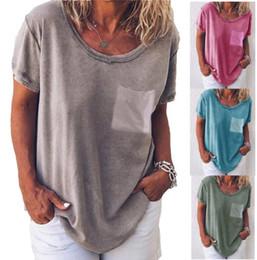 $enCountryForm.capitalKeyWord Australia - Summer t shirts Pocket plain short sleeve T-shirt fashion casual tops 4 color for u choose factory price