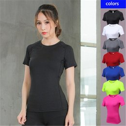 4b2899a5c2e0f9 2019 New Women Yoga Tops Gym Sports T Shirt Elastic Polyester Compression  Sport Tights Black Fitness Running Clothes Singlets for Women