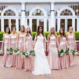 $enCountryForm.capitalKeyWord Australia - Rose Pink Sequined Summer Cheap Bridesmaid Dresses Garden Boho Wedding Party Gowns Mermaid Sweetheart Zipper Back Maid of Honor Dress