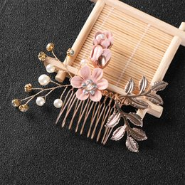 $enCountryForm.capitalKeyWord Australia - 1pc New Fashion Luxury Blue Flower Hair Combs Headdress Prom Bridal Wedding Hair Accessories Gold Leaves Jewelry Pins