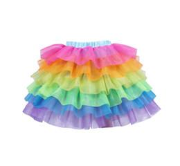 TuTu fancy online shopping - Girls Rainbow Tutu Skirt Kids Unicorn Skirts Baby Cake layer Pettiskirt Ballet Fancy Costume Dress Chidren Mesh Skirt GGA2174