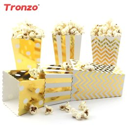 Black Gold Silver Party Decorations Australia - Trozno Popcorn Box Baby Shower Supplies Birthday Party Decorations Kids Favors 12pcs Gold Silver Paperboard Popcorn Box Wedding