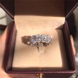 Потрясающие Limited Edition Eternity Band Promise Ring Стерлингового Серебра 925 пробы Овальный Бриллиант cz Обручальные Кольца Для Женщин на Распродаже