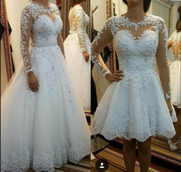 Vintage Dresses Plus Sizes Australia - vintage Long Sleeve Short Wedding Dresses Removable skirt Beach Boho Puffy Tulle Lace Plus Size Country Sheer Button Back Bridal Gowns 2019