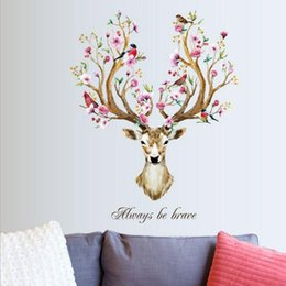 baby flower head pieces UK - DIY Sika Deer Head Flowers Wall stickers For Living Room Art Vinyl Wall Decals For Kids Baby Home Decor adesivo de parede D19011702