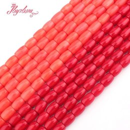 """Coral Beads Making Australia - 7x10mm Smooth Column Orange Coral Beads Natural Stone Beads For DIY Necklace Bracelets Pandant Jewelry Making 15"""" Free Shipping"""