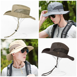 c44fc675a85c2 Man Summer Outdoors Sun Hat Ventilation Mesh Cloth Sunscreen Fisherman Cap  Big Eaves Pure Color Sunshade Hats Hot Sale 10dy I1
