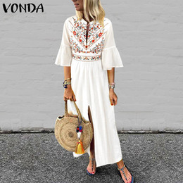 $enCountryForm.capitalKeyWord NZ - Vonda Women Bohemian Printd Dress 2019 Sexy V Neck Ruffle Sleeve Split Maxi Dress Vintage Casual Loose White Vestidos Plus Size J190614