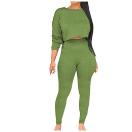 women fashion sport set Canada - Women Fashion O-Neck Sweatshirt Yoga Suits Two Piece Set Long Sleeve Tops + Pants 2020 New Spring Solid Sport Sets