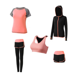 Pink Clothing Women UK - New Women Yoga Suits Gym Clothes Fitness Running Tracksuit Sports Bra+Sport Leggings+Yoga Shorts+Top 5 Piece Set Plus Size S-2XL