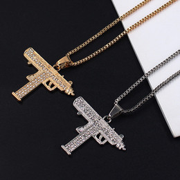 Male chain Models online shopping - Gold Necklace Gun Pendant Necklace Men Alloy Full Crystal Bling Submachine Chain Hip Hop Cyclist Accessories Male Necklace