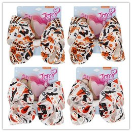 $enCountryForm.capitalKeyWord Australia - 10pcs lot 2019 Halloween Hair Bows Clips 8inch large bowknot crocodile clip print Grosgrain Ribbon Accessories For Girls Baby Toddlers