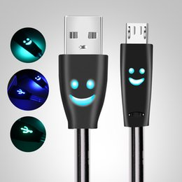 Usb Data Charging Cable Iphone Australia - Micro USB Cable Smiling Face Glowing LED light Fast Charge USB Data Cable For iPhone Android Mobile Phone USB Charging Cables